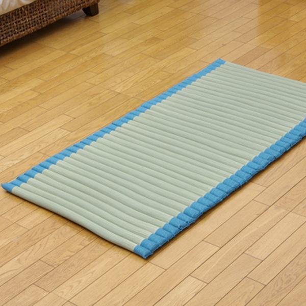 い草ごろ寝 クッション プチポコ フリーマット ブルー 約70×150cm 3809199