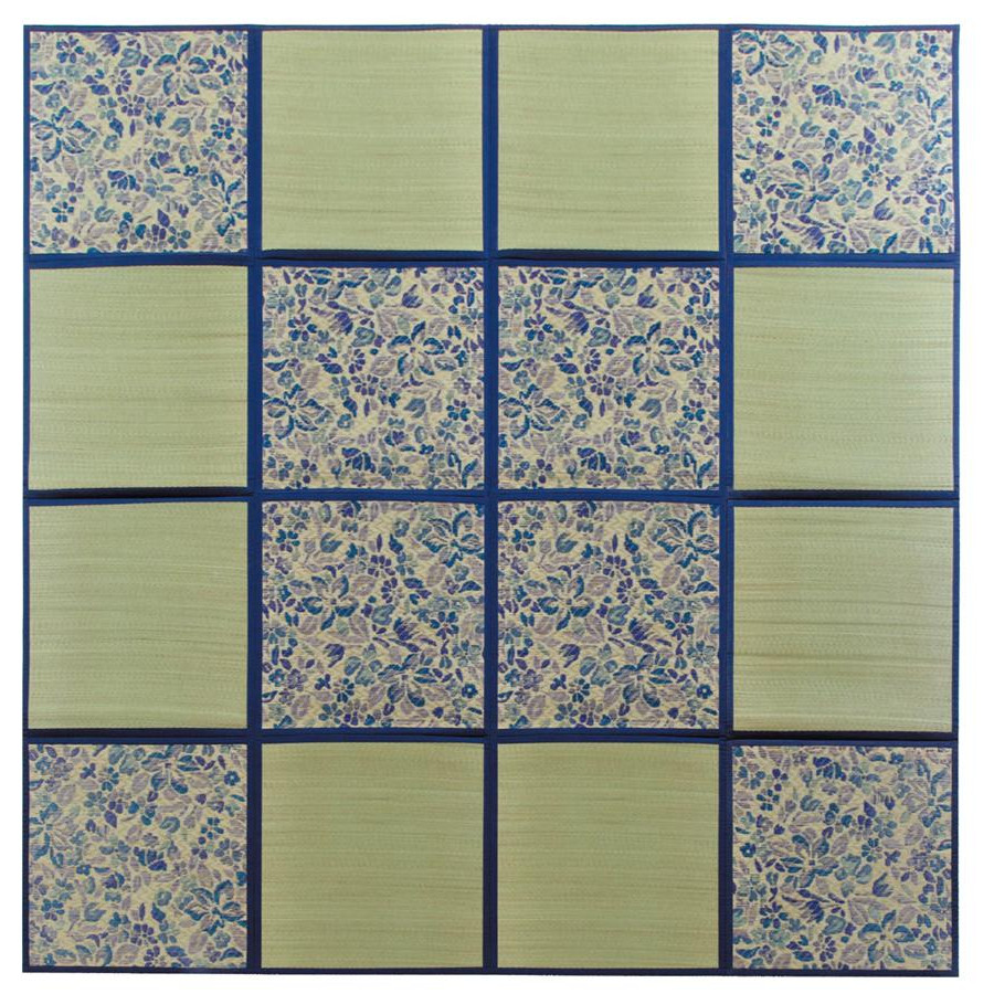 折りたたみ い草アクセントラグ 花園 ブルー 約266×266cm HGW699189