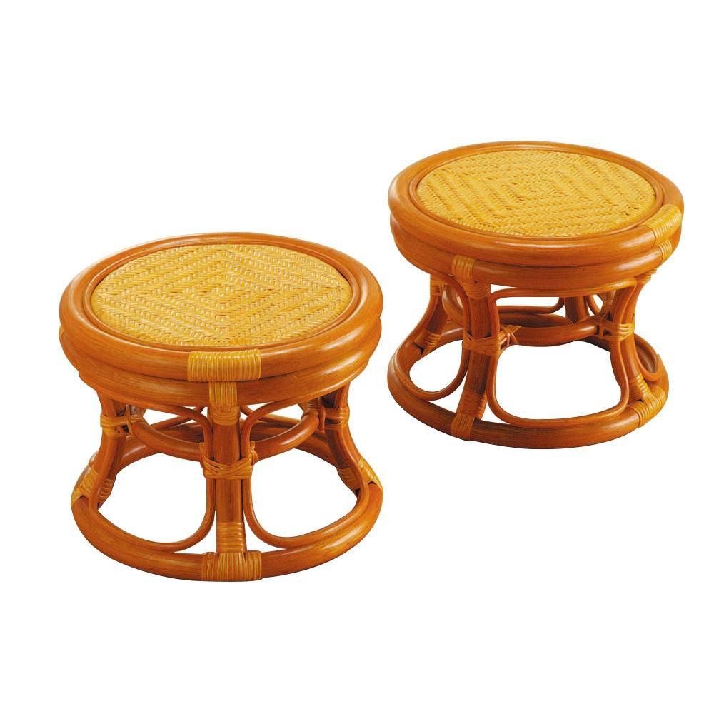 ラタン らくらく籐丸椅子 2個組 ST02N