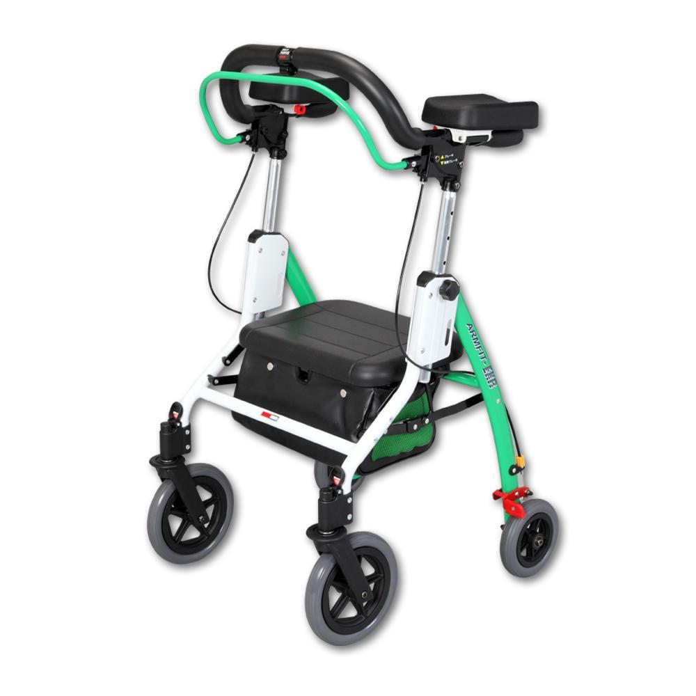 アームフィットEXR 室内外兼用歩行車 肘置パッド付 グリーン EXR-698E