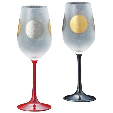 日本の伝統紋様「日月」を施したグラスです。 日月 ステム ペアセット S6256