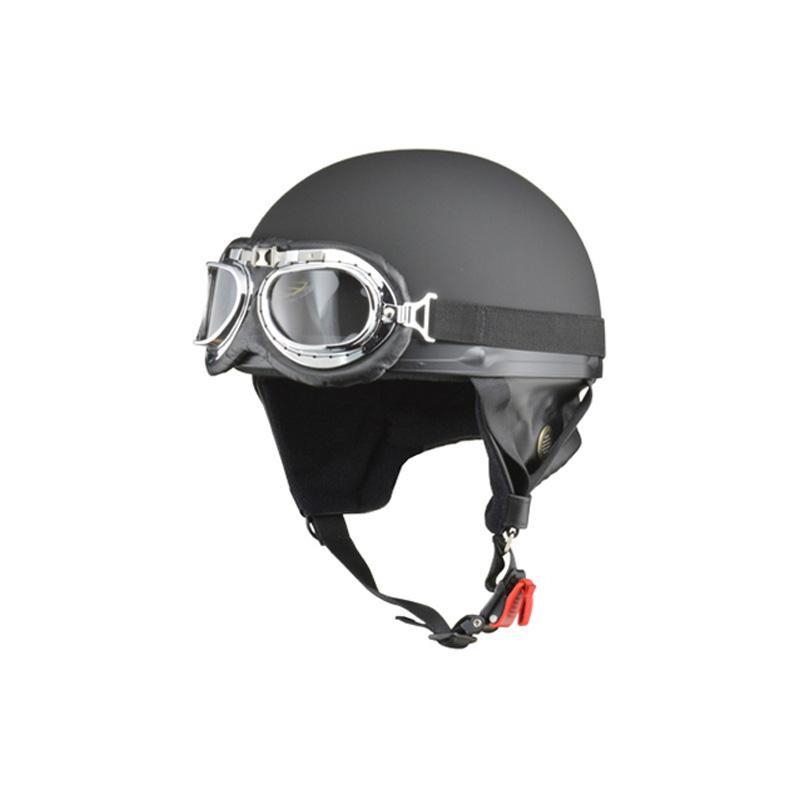リード工業 CROSS ビンテージハーフヘルメット マットブラック フリーサイズ CR-750
