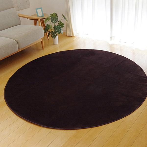 ラグ カーペット 円形 ピオニー ブラウン 約185cm丸 ホットカーペット対応 9810845