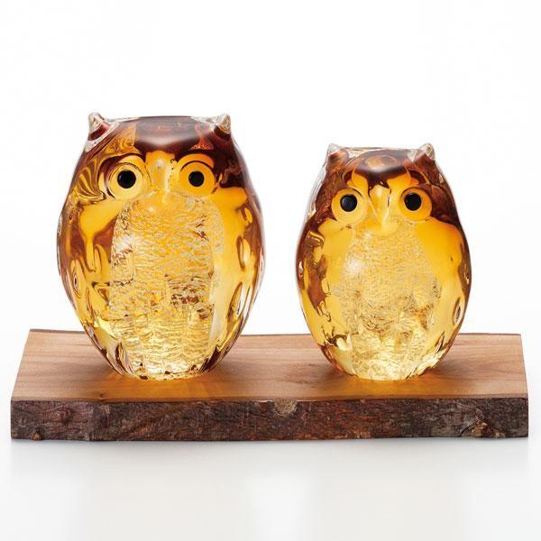 フクロウ置物 金 縁起物 津軽びいどろ ガラスの置物 フクロウ 伝統工芸
