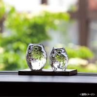 津軽びいどろ 伝統工芸 ハンドメイドガラス 手作り フクロウ置物 玄関の置物