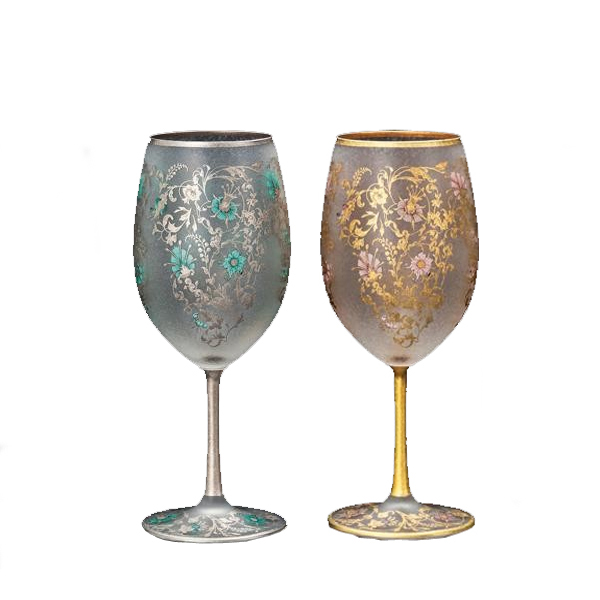 ペア ワイングラス おしゃれ 結婚祝い ワイン グラス 花 セット 540ml