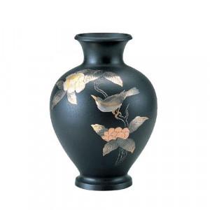 高岡銅器 銅製花瓶 山本秀峰作 福寿 木瓜に鳥 黒鉄 10号 94-09