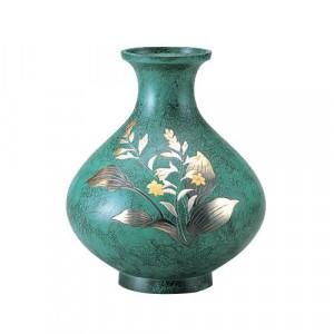 高岡銅器 銅製花瓶 山本秀峰作 鳳寿 ぎぼうし 8号 95-02