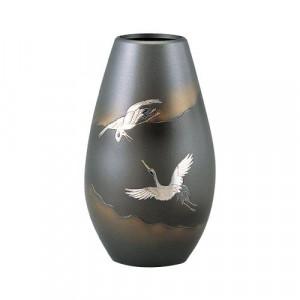 高岡銅器 銅製花瓶 砲形 双鶴 8号 96-03