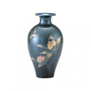高岡銅器 銅製花瓶 山本秀峰作 蘭 花鳥 8号 96-05