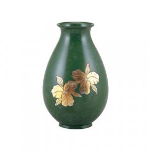 高岡銅器 銅製花瓶 福ダルマ カトレア 96-08