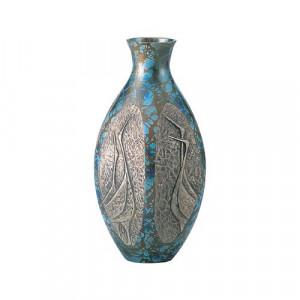 高岡銅器 銅製花瓶 六角ダルマ鶴地紋 9号 98-07