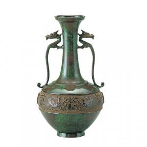 高岡銅器 銅製花瓶 竜耳瑞鳥 101-01