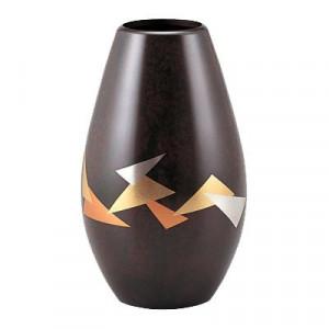 高岡銅器 銅製花瓶 蒔絵 折ヅル 101-09