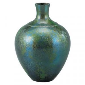 高岡銅器 銅製花瓶 福鶴 青葉 104-06