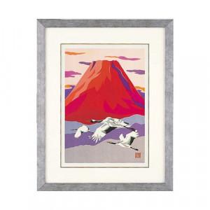 高岡銅器 めでたき富士風水 彫金パネル 金森弘司作 赤富士に飛鶴 大 143-01