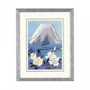 高岡銅器 めでたき富士風水 彫金パネル 金森弘司作 白富士にバラ 大 143-02
