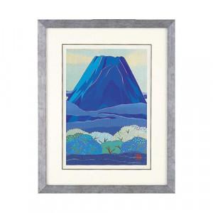 高岡銅器 めでたき富士風水 彫金パネル 金森弘司作 青富士に森林 大 143-04