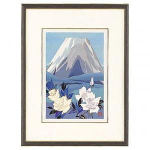 高岡銅器 めでたき富士風水 彫金パネル 金森弘司作 白富士にバラ 小 143-06