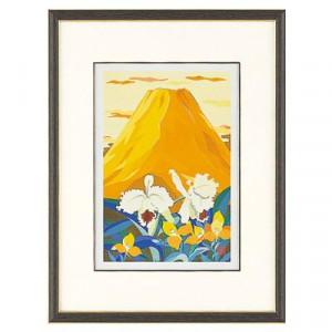 高岡銅器 めでたき富士風水 彫金パネル 金森弘司作 黄富士にカトレヤ 小 143-07