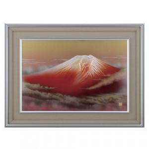 高岡銅器 彫金パネル 北晴山作 黎明赤富士 145-01