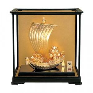 高岡銅器 和風置物 宝船ゴールド ガラスケース付 156-02