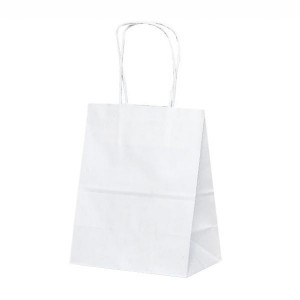 T-2 自動紐手提袋 紙袋 紙丸紐タイプ 200×120×250mm 200枚 白無地 1217