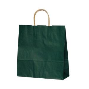 T-6 自動紐手提袋 紙袋 紙丸紐タイプ 320×110×330mm 200枚 カラー 緑 1664