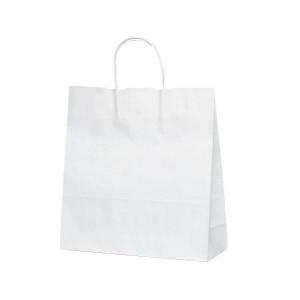T-6 自動紐手提袋 紙袋 紙丸紐タイプ 320×110×330mm 200枚 白無地 1698