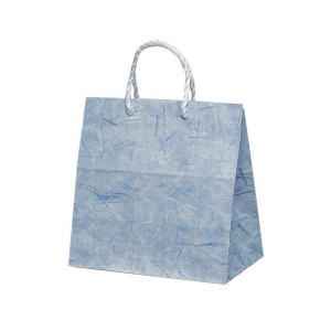 T-ミニ 自動紐手提袋 紙袋 PP紐タイプ 260×150×260mm 200枚 彩流 紺 1640