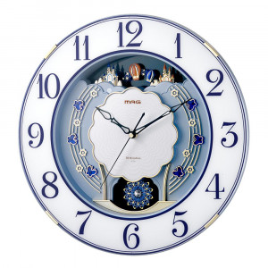 MAG電波報時掛時計 ルネッタ ブルー W-726 BU