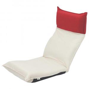 ヘッドリクライニングツートン座椅子 アイボリー×レッド