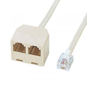 サンワサプライ 電話延長分配ケーブル ベージュ・2m TEL-Y9-2K2