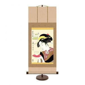 飾りやすいサイズの掛け軸 和風モダン掛 喜多川歌麿 SALE 格安 価格でご提供いたします 31×75cm 難波屋おきた KM2G6-003