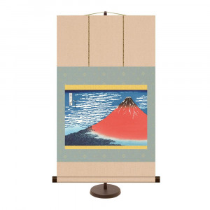 飾りやすいサイズの掛け軸 和風モダン掛 即日出荷 葛飾北斎 凱風快晴 開催中 44.5×75cm KM2G6-021