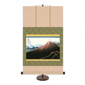 飾りやすいサイズの掛け軸 和風モダン掛 葛飾北斎 山下白雨 44.5×75cm 贈答品 KM2G6-026 新発売