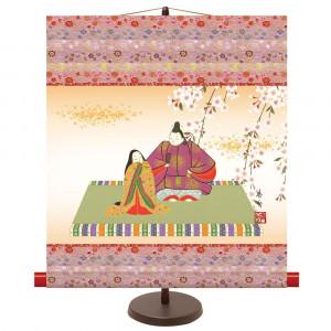 季節感のある掛け軸 豪華な 和風モダン掛 即納 伊藤香旬 KM2F8-015 吉祥雛 44.5×50cm