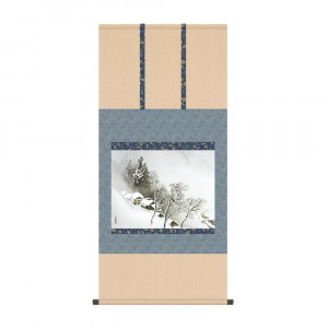 床の間に日本の美 掛け軸を 即納送料無料! 掛軸 川合玉堂 54.5×115cm 評価 吹雪 KZ2G9-016