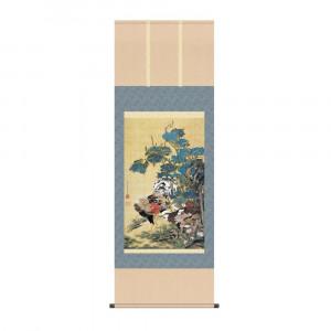 値下げ 床の間に日本の美 掛け軸を 掛軸 伊藤若冲 KZ2G9-034 信託 54.5×153cm 紫陽花双鶏図