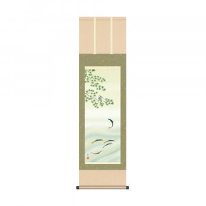 在庫あり 床の間に日本の美 掛け軸を 掛軸 北山歩生 楓に鮎 推奨 44.5×164cm KZ2MA6-21B