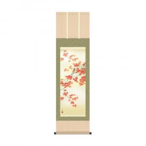 床の間に日本の美 掛け軸を 爆安プライス 掛軸 田村竹世 紅葉に小鳥 KZ2MA4-141 格安店 44.5×164cm