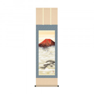 床の間に日本の美 掛け軸を 限定タイムセール 掛軸 宇田川彩悠 44.5×164cm 赤富士双鶴 KZ2MB3-081 期間限定今なら送料無料