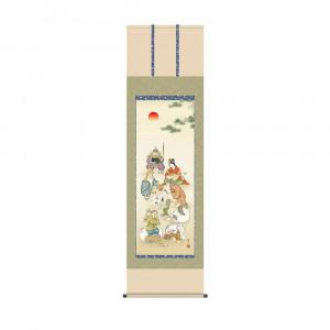 掛軸 鵜飼雄平 七福神 KZ2D1-029 54.5×190cm