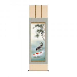 ☆新作入荷☆新品 床の間に日本の美 掛け軸を 掛軸 長江桂舟 54.5×190cm 推奨 KZ2F4-048 松下遊鯉