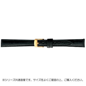 BAMBI バンビ 時計バンド エルセ オーストリッチ革 ブラック 美錠:金 SDA005AL