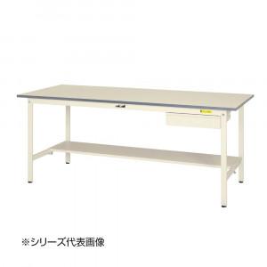 山金工業 YamaTec SUP-1590UT-WW ワークテーブル150シリーズ 固定式 キャビネット付 H740mm 1500×900mm 半面棚板付