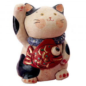 民芸めでたい猫 大 置物 K3604