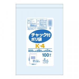 オルディ チャック付ポリ袋K-4 透明100P×15冊 207001