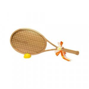 ビッグウエディングスプーン 趣味のシリーズ テニスラケット型スプーン 木目 飾り台付