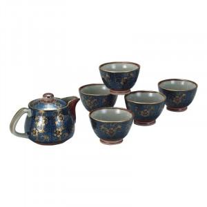 お得なキャンペーンを実施中 お祝いごとの贈り物に 九谷焼 ポット茶器 青粒 激安特価品 N137-03